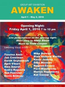 Exhibition: April 1 - May 2, 2016 Tantra Lounge, 1157 St. Clair Ave. W., Toronto, ON